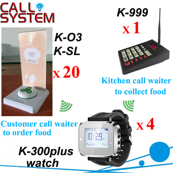 1 keyboard 4 watch wrist 20 buttons 20 food menu base restaurant ordering system Kitchen call waiter
