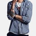 2016 otoño Nuevos hombres de moda de algodón calidad rejilla del ocio camisas de manga larga/boutique de negocios de Los Hombres ocasionales camisas de tela escocesa