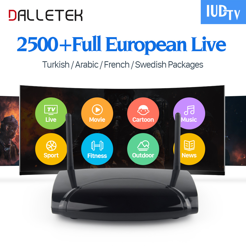 Dalletektv Android Smart TV Box 1Year Free IUDTV Account IPTV 1700 Channels Europe French Italy Germany UK Arabic Set Top Box dalletektv mag250 linux iptv set top box europe iptv subscription arabic french uk italy usa germany sweden streaming box