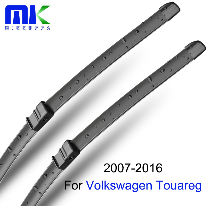 Wiper Blades For VW Touareg 2007 2008 2009 2010 2011 2012 2013 2014 2015 2016 Natural Rubber Windshield Auto Car Accessories wiper blades for vw golf 7 fit push button arms 2012 2013 2014 2015 2016 26 18 windscreen windshield silicone rubber car wiper