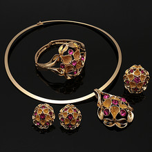 Dubai Gold Color Jewelry Sets Big Design Nigerian Wedding woman accessories jewelry set Fashion African beads Jewelry Set(China)