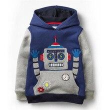 SLW Jumping Meters Boys Hoodies Robot Appliques Sweatshirts Baby Kids Long Sleev