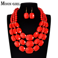 Nigeria Wedding african beads jewelry set 4 color acrylic beads making choker necklace set for women 2016 MOON GIRL statement