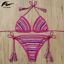 купить YOUDIAN Summer New Arrival Bikini Set Crochet Bikini Brazilian Knitted Biquini Swimwear Padded Sexy Halter Colorful Tankini дешево
