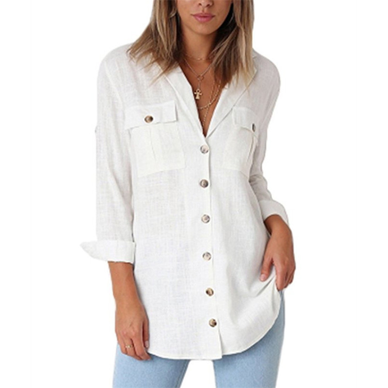 Women Solid Blouse 2019 Long Sleeve Casual Blouses Tops Office Turn Down Collar Blouse Button Tunic With Pockets Women Blusa XXL