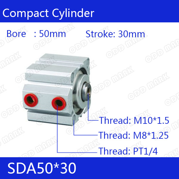 SDA50*30 Free shipping 50mm Bore 30mm Stroke Compact Air Cylinders SDA50X30 Dual Action Air Pneumatic Cylinder sda100 30 free shipping 100mm bore 30mm stroke compact air cylinders sda100x30 dual action air pneumatic cylinder