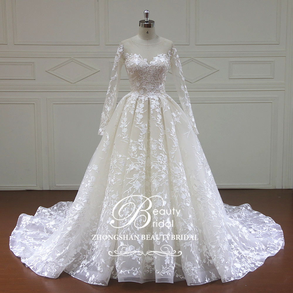 100% Real Photos Luxury Wedding Dresses Royal Train Lace