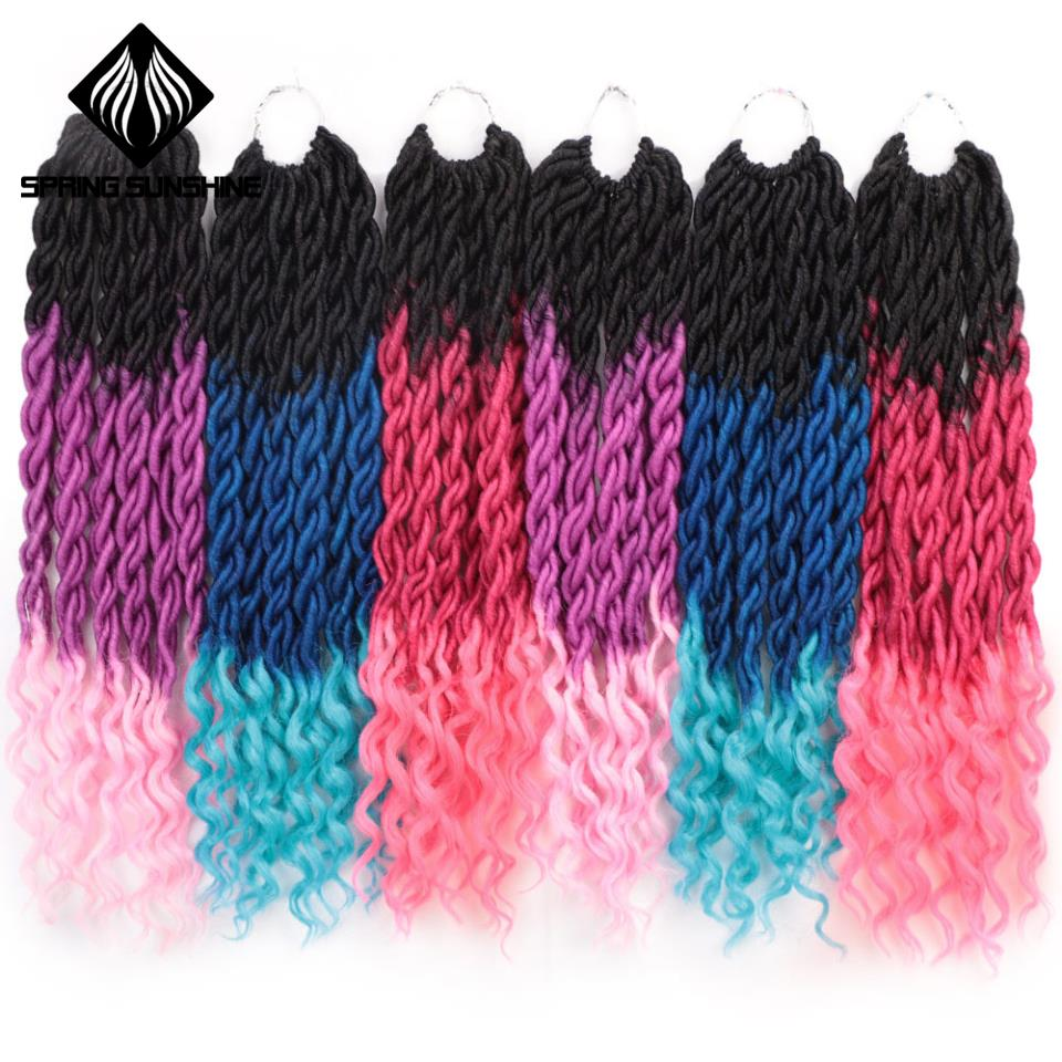 Spring sunshine 18inch Ombre Faux Locs Curly Crochet Hair