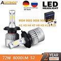 Светодиодный головной светильник S2  H1  H4  H7  H13  H11  H8  H9  H1  9005  9006  H3  9004  9007  9008  72 Вт  8000 лм  светодиодный автомобильный головной светильник  лампа ...