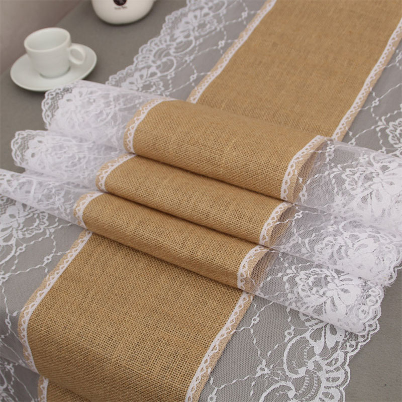 Nature Jute Burlap Lace Table Runner Wedding Party Chair Decoration Household Linen Tablecloth