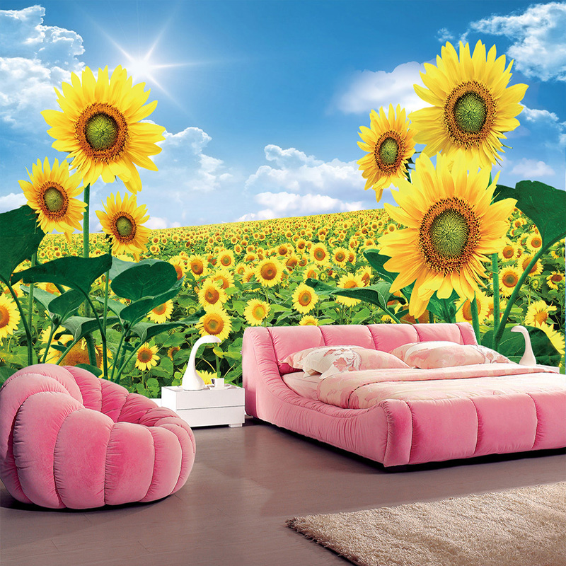 Custom Photo Wallpaper 3D Sunflowers Pastoral Scenery Wall Painting Living Room TV Sofa Backdrop Wall Home Decor Papel De Parede