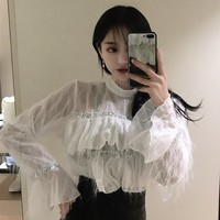 Blusa Real Polyester Full Ruffles Zanzea Plus Size 2019 New Women's Shirt Sequins Trumpet Sleeves Collar Women Lace Blouse