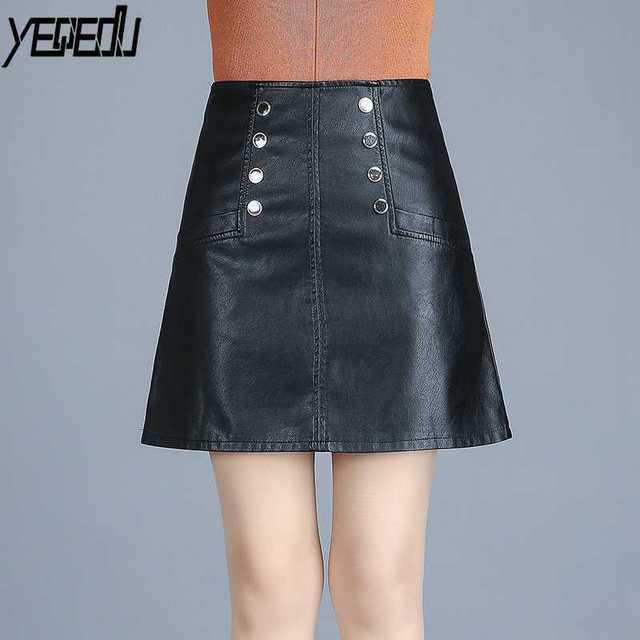 latest discount elegant appearance best #6070 Black PU Skirts womens 2018 Fashion High waist Slim Plus size Office  skirt short Faux leather High waist skirt women 4XL-in Skirts from Women's  ...