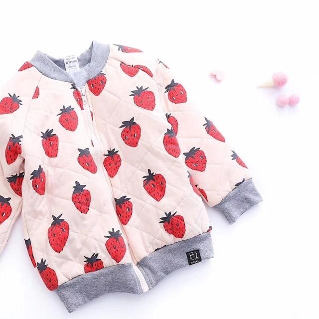 e0004969d9f Kukukid Pattern Strawberry Child 2018 Girl Clothing Little Girls Winter  Coats Toddler Girl Winter Clothes Coat
