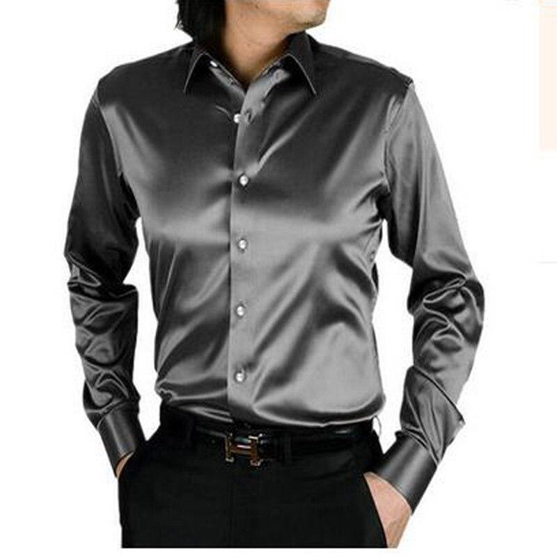 Buy 2017 long sleeve silk men casual for Long sleeve silk shirt dress