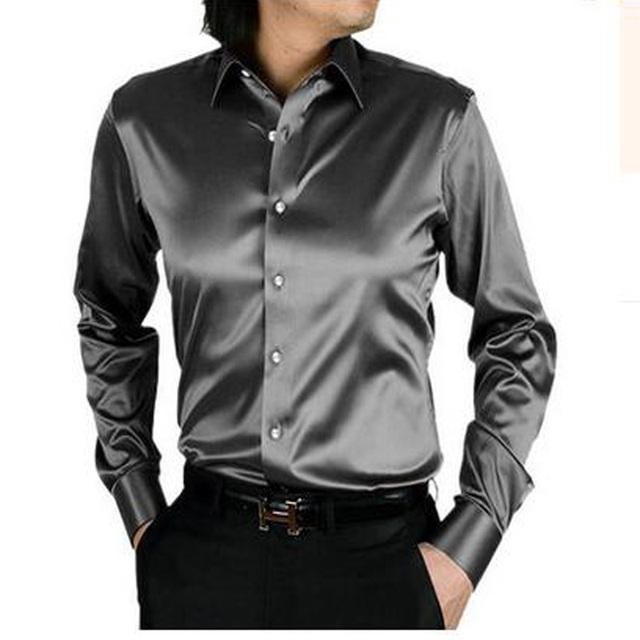 2017 resorte de la manera delgada de manga larga otoño suelta de seda ocasional de los hombres camisa de vestir más tamaño más masculinos suaves de buena calidad superior