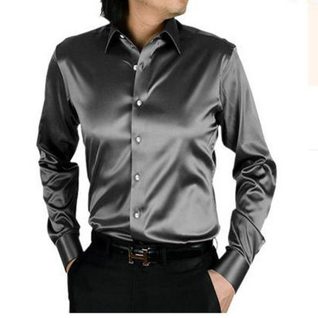 1b9953b53a715 LightSung promption long sleeve casual loose silk men shirt thin plus size  plus size male wedding