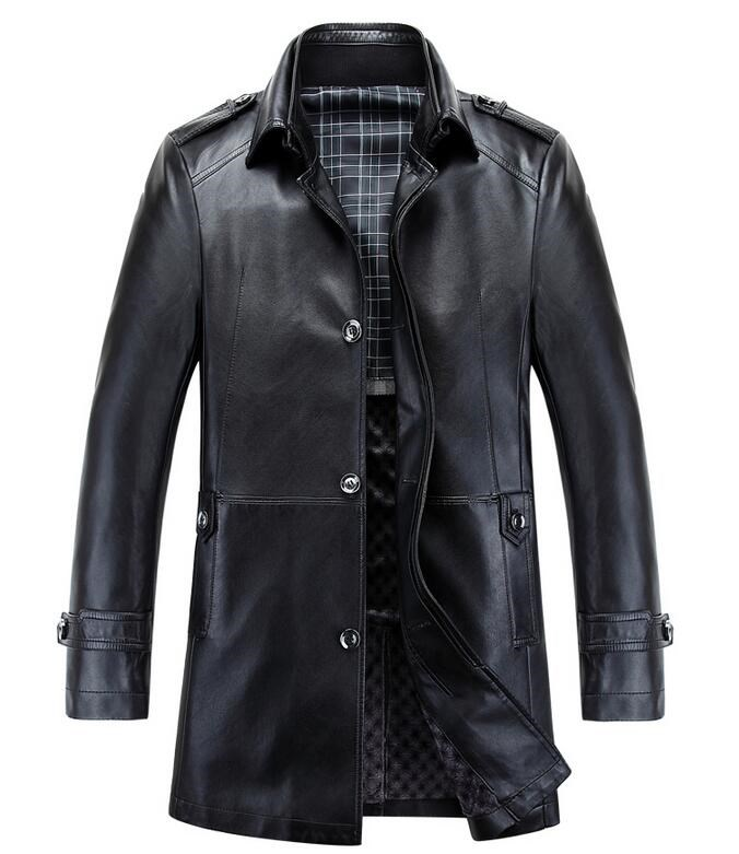 Popular Mens Long Leather Jacket-Buy Cheap Mens Long Leather ...