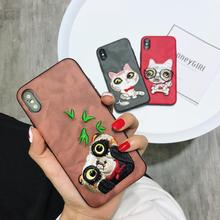 Cyato Hot embroidery Soft silicon cover cases for iphone 6 S 6S plus 7 7plus 8 8plus X Shiny Pet dog Blinking phone Cover
