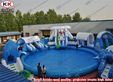 Commercial inflatable Ice and snow world water slide with pool inflatable water park