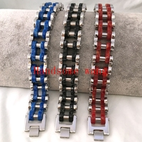 Fashion Personality Motorcycle Bracelet 316L Stainless Steel Novel 131G Huge Black Silver Red Blue Mens Wrist