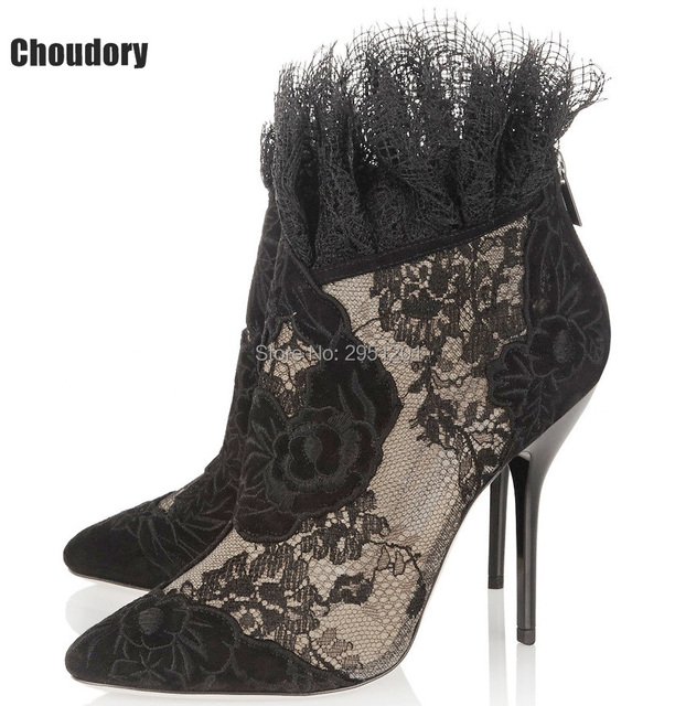 Women's High Heeled Floral Embroidered Pointed-toe Stiletto Zip Fashion Short Boots