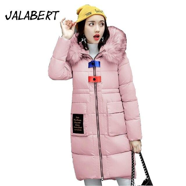ff0c9a49a7d Новинка 2017 женские зимние карман с надписью длинный тонкий большой Мех  воротник парки пальто с капюшоном