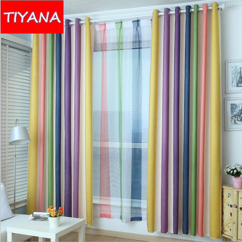 colorful striped fashion high quality curtains for bedroom blackout curtains drapes for living room child blinds