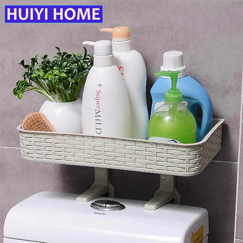 HUIYI HOME Bathroom Storage Rack Strong Sucker Cosmetic Toilet Paper Storage Box For Closestool Bathroom Organizer EGP055