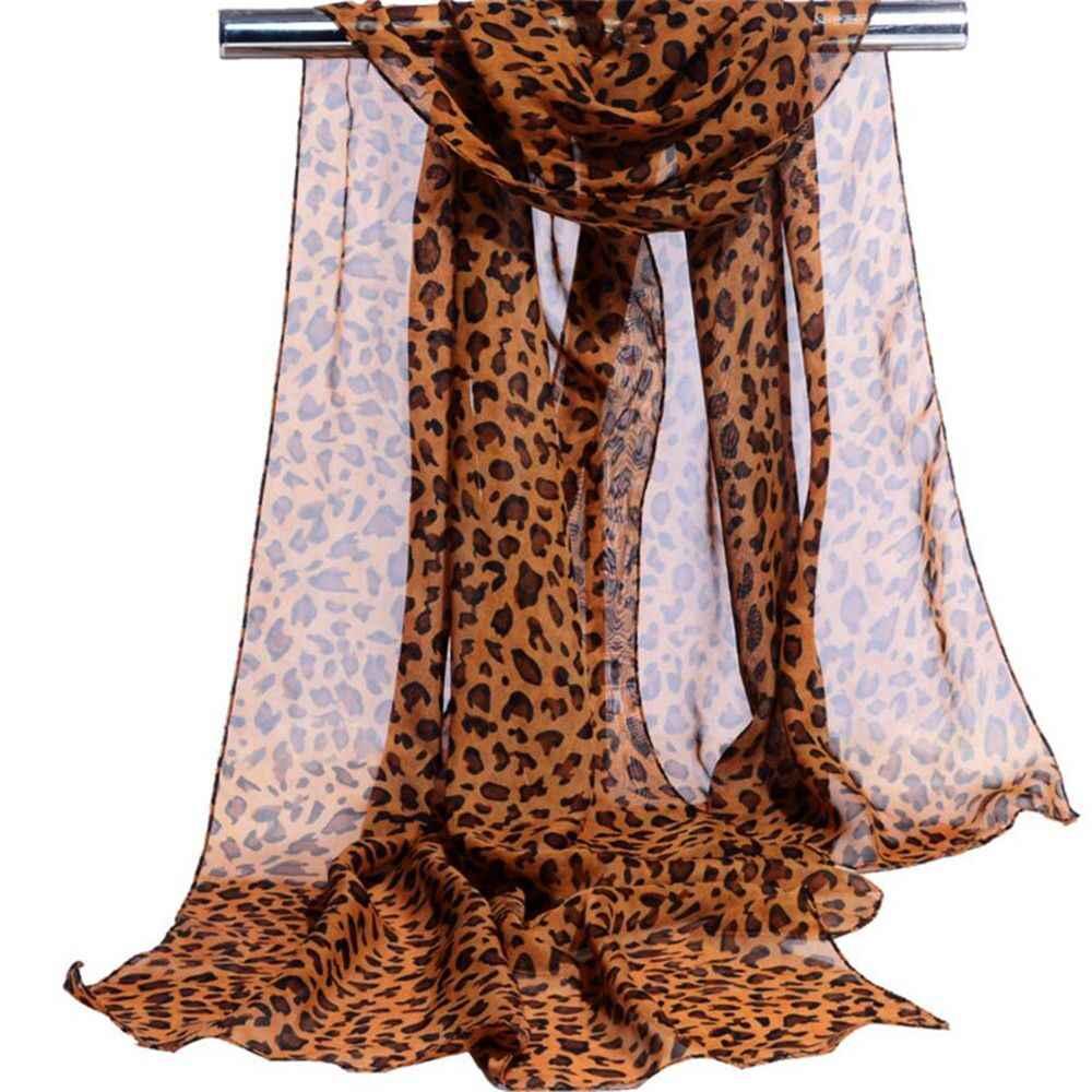 Thời trang Phụ Nữ Leopard Print Khăn Phụ Nữ Mùa Hè Dài Khăn Quàng Cổ Khăn Choàng Voan Mềm Femme Bọc Bãi Biển Kem Chống Nắng Rẻ Hơn Khăn