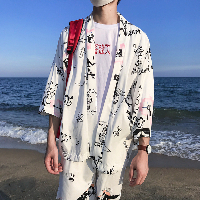 79c45b4516f Printed Kimono Jacket Men 2018 Summer Three Quater Sleeve Men's Jacket Sun  Protect Thin Style Jackets