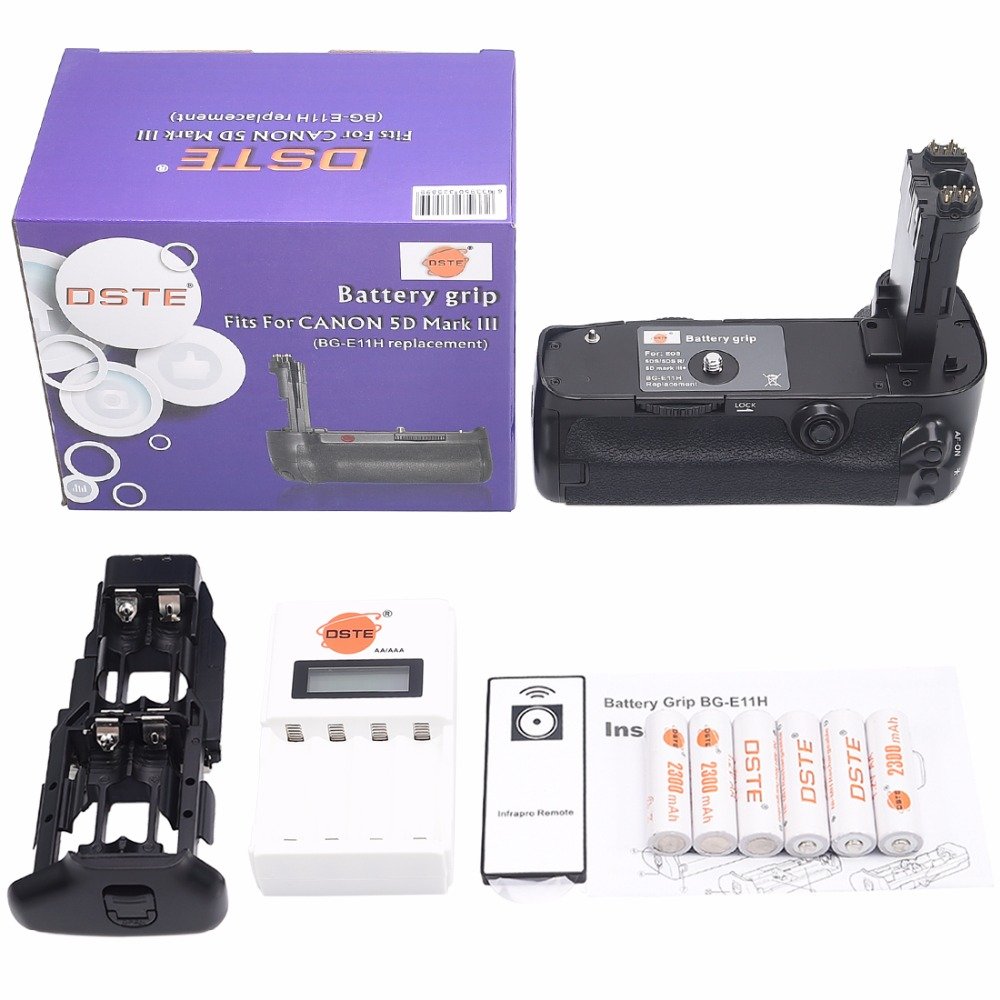 DSTE Battery Grip + Remote Control + Charger + 6x Rechargeable Batteries AA NI-MH Battery for Canon 5D Mark III 5D3 DSLR Camera dste 3pcs sl 360 ni mh battery for spectralink pts360 9031 mdw9030p mdw9031 ptb400 ptb710 ptb810 ptb81650