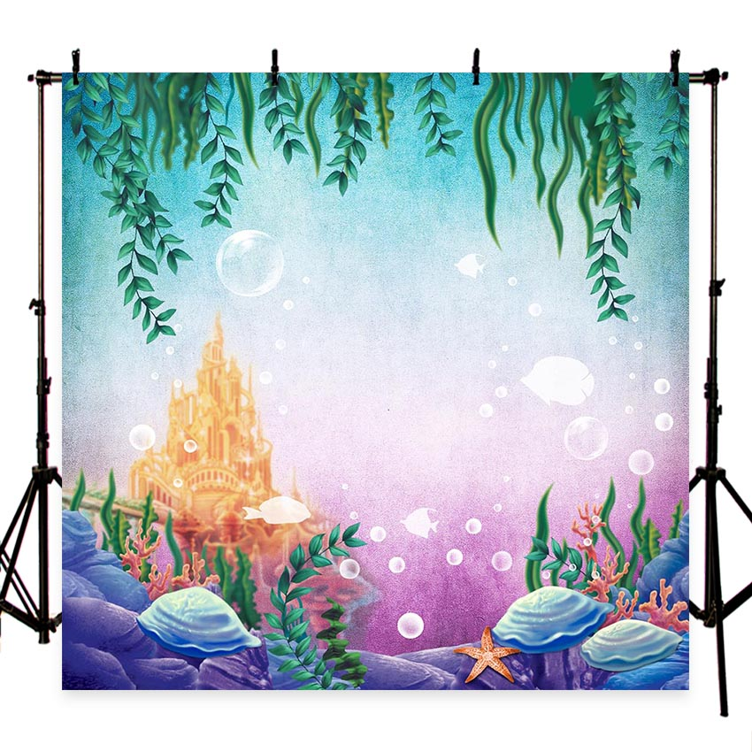 Little Mermaid Under Sea Bed Caslte Corals Ariel Princess Photography Backdrop Baby Party Birthday photo background G-449