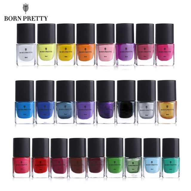 BORN PRETTY Nail Stamping Polish 6ml Colorful Printing Varnish Lacquer for Nail Art Stamping Plate Stencil Oil