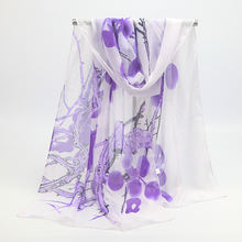 50*160cm chiffon long women scarf for spring autmn flower printed