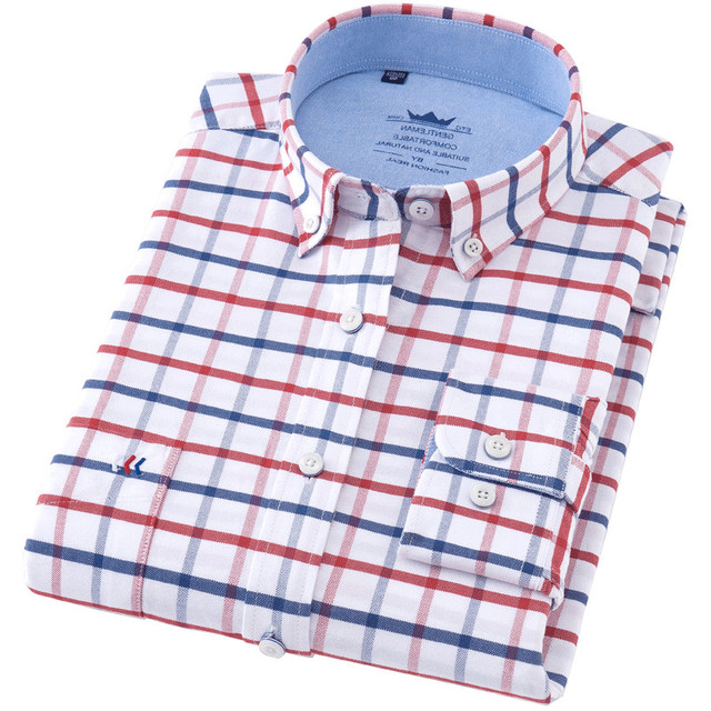 6a1930e9014 High Quality Male shirts Brand Long Sleeved Oxford Loose Red Blue And White  Plaid Camisa Hombre Checkerboard Plus Size Shirt 4XL