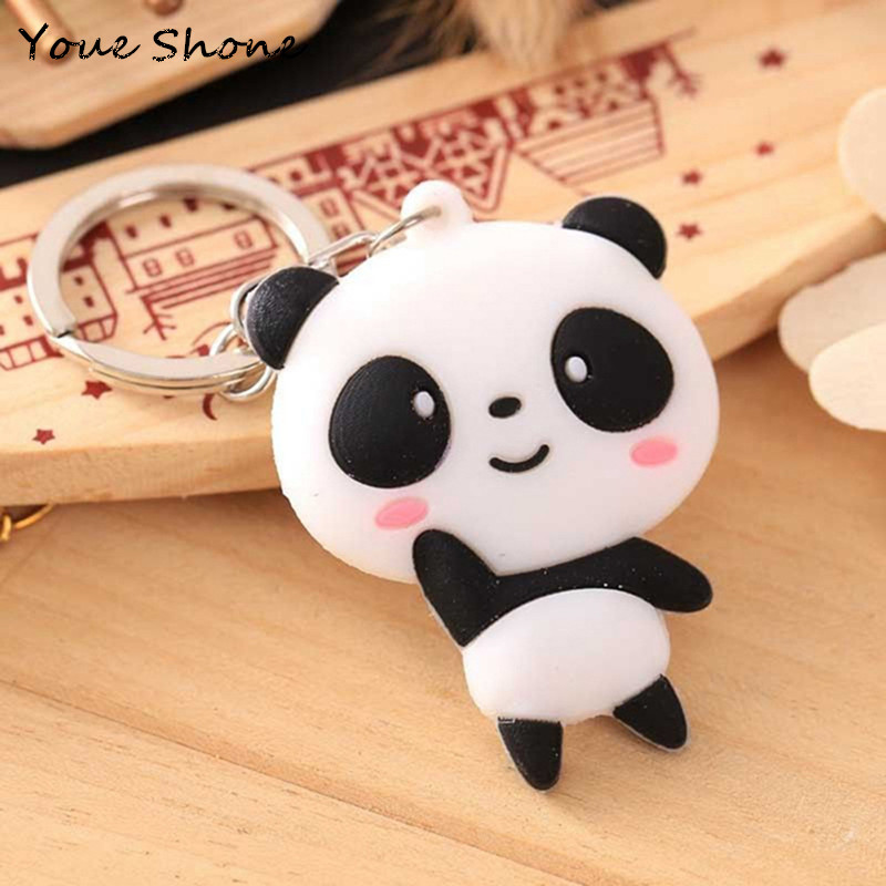 Cute Cartoon Panda Keychain Silicone Key Chains For Women 3D Animal Keyrings For Car Key Holder Bag Ornaments Accessories Gift
