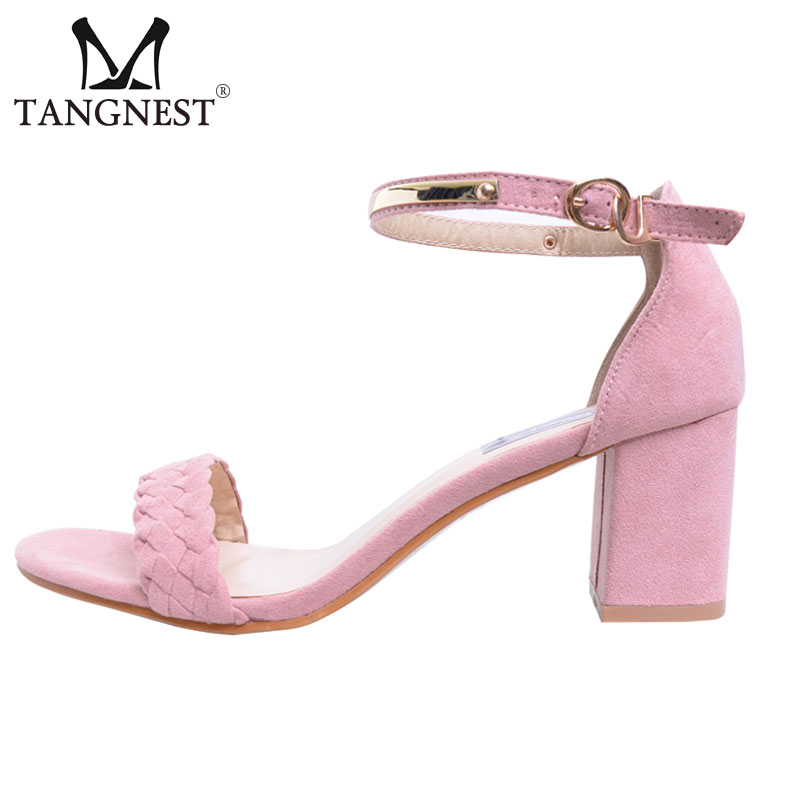 Tangnest 2017 Summer Sweet Woman Sandals Solid Buckle Front Rear Strap Woman Square Thick Med Heels