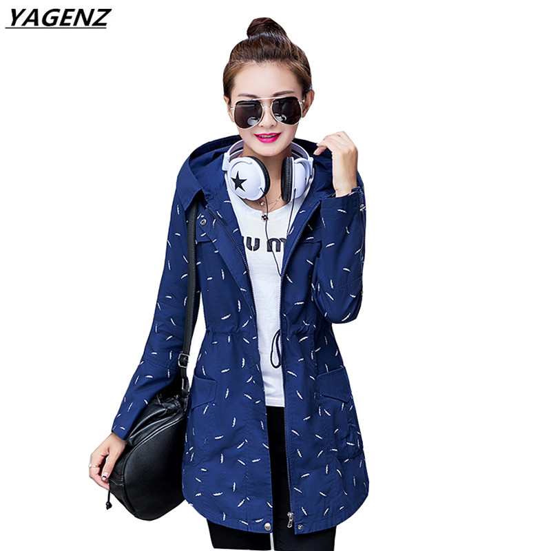 Autumn Winter Women Windbreaker 2017 New Fashion Printed Student Hooded   Trench   Coat Long Sleeves Plus Size Women Clothing YAGENZ