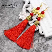 Red Handmade Chinese National Trend Long Tassel Earring ,Butterfly with Pearl Wedding Bride Earings