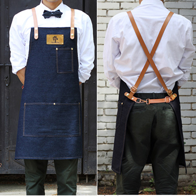 Senior Denim Cowboy Bbq Apron Bib Leather Straps Kitchen
