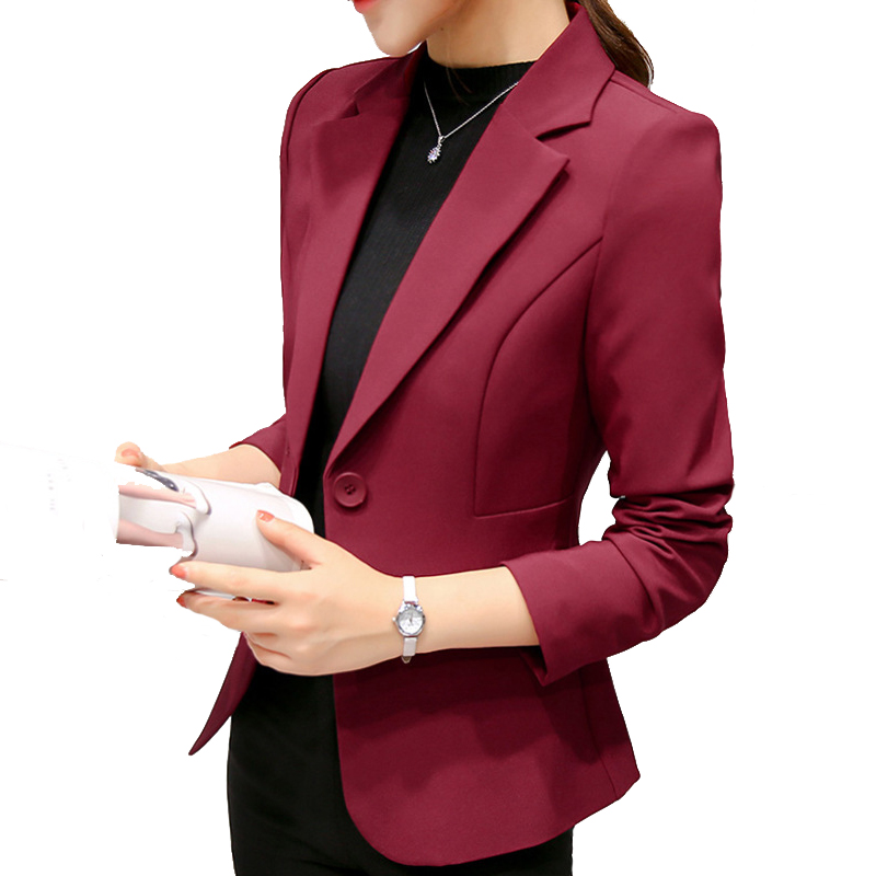 Women Slim Overcoat 2018 Spring Autumn New Fashion Office Lady Slim Coat Outerwear Clothing Long sleeve small suit lady jack