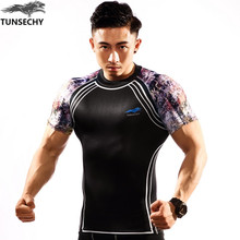New Men s Compression Shirts Fashion Prints Fitness Skin Tights short sleeves Tshirt CPD TUNSECHY Brand