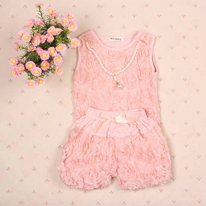 2017 New Pink Kid Infant Girls Rose Blouse Tops + Bowknot Short Pants Clothes Outfits