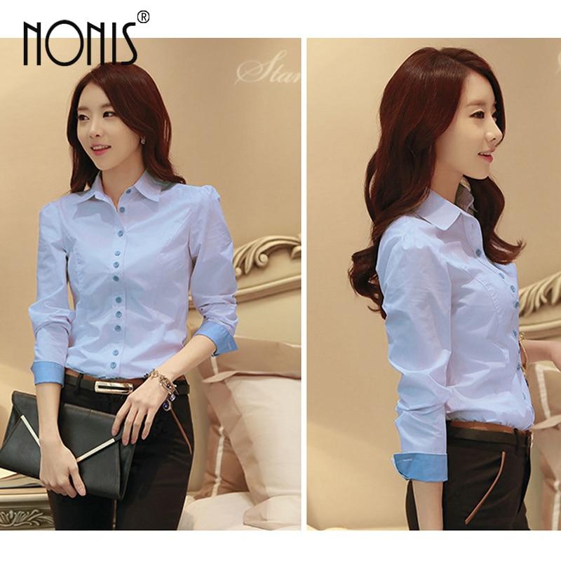 Formale Geschäftsanzughemden für Frauen 2017 neue weiße blau rosa - Damenbekleidung - Foto 2