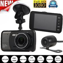 Nuevo 4 pulgadas de Doble Lente de la Cámara HD 1080 P Del Coche DVR Del Vehículo Grabador de vídeo Dash Cam G-sensor DVR 170 lente gran ángel de bucle grabación