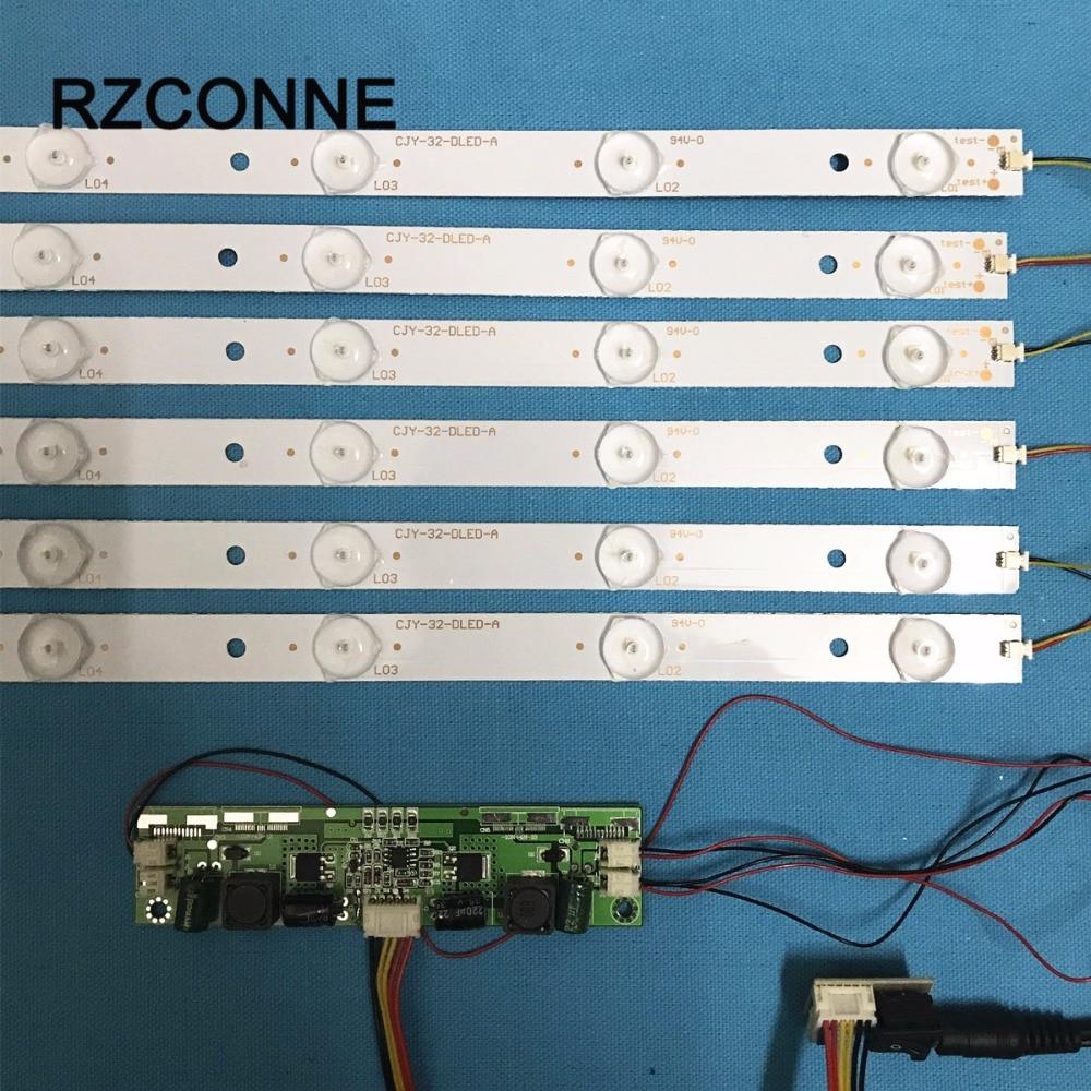 630mm LED Backlight Lamps kit Aluminum Board w/ Optical Lens Fliter for 32inch TV Monitor Panel 6pcs LED strips + driver board led42r5500fxmz 37022722 35018220 35018002 led backlight 1pcs 48led 472mm