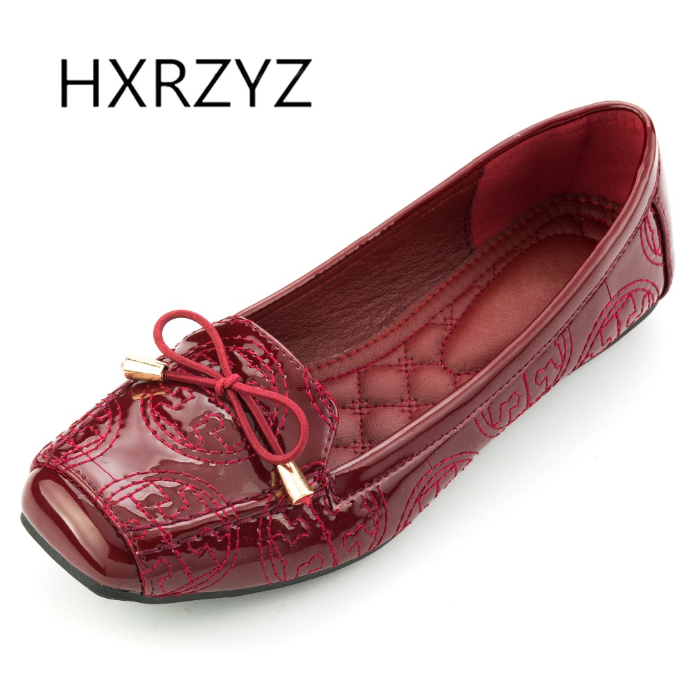HXRZYZ large size women black flat shoes female square toe casual shoes spring/autumn new fashion bowknot patent leather loafers 2017 new spring female flat heels martin shoes bullock shoes female thick bottom loafers large size women shoes obuv ayakkab