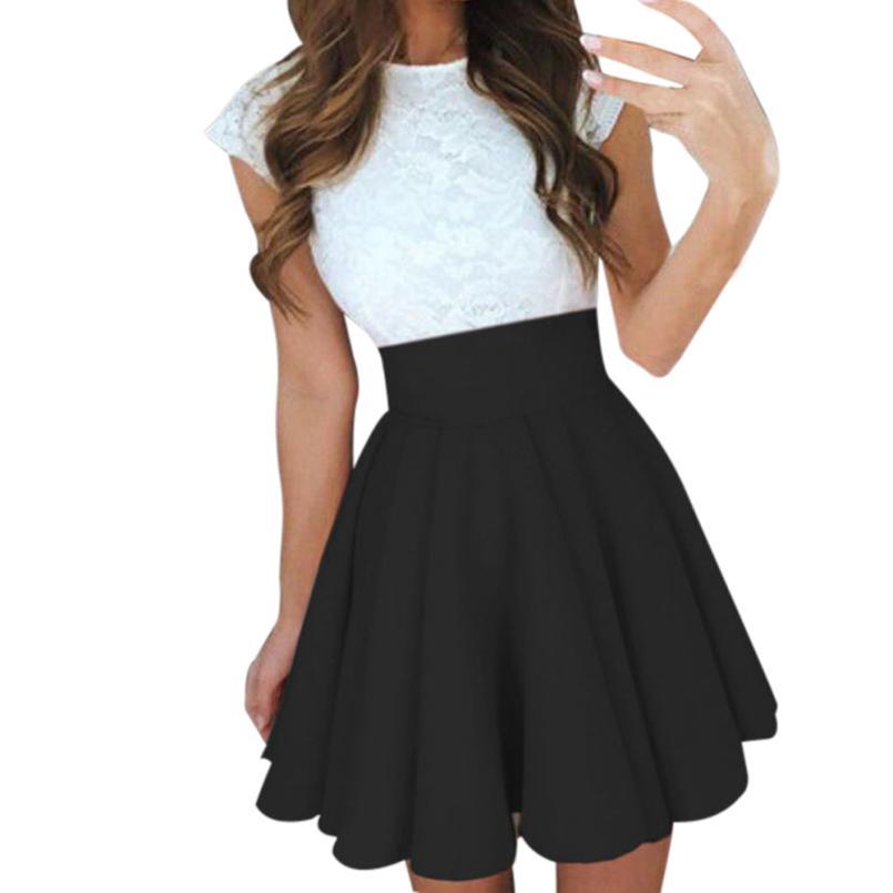 Girls Summer Party Dress School Uniform Formal A-line Pleat Knit Skater Skirt