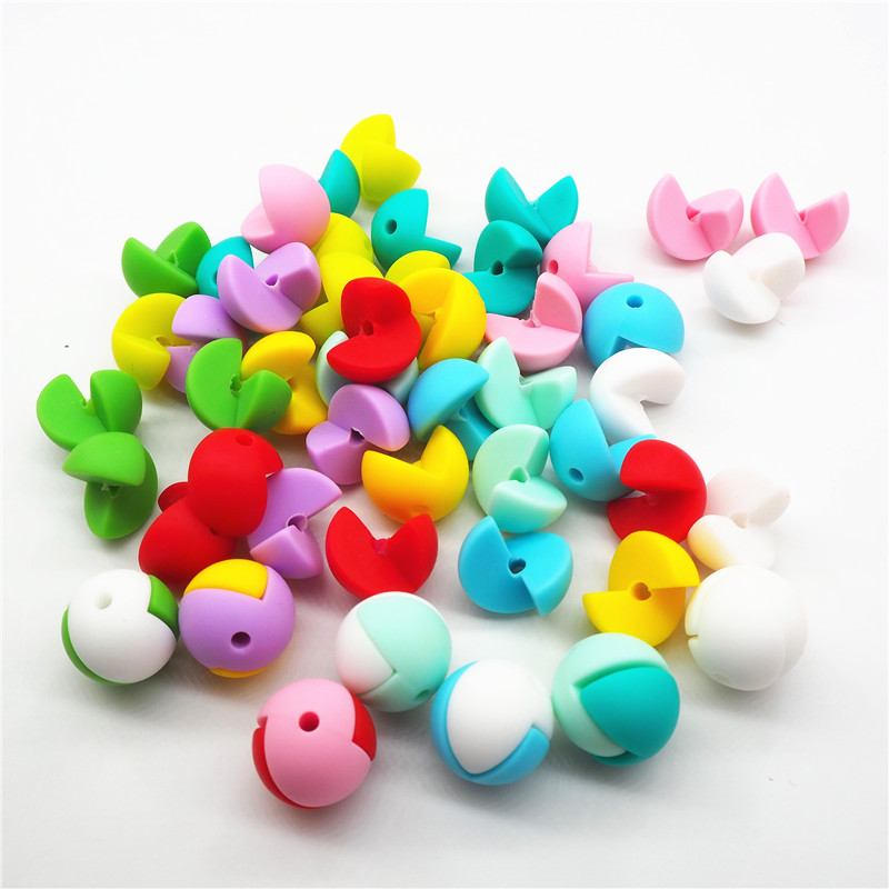 Chenkai 50pcs BPA Free Loose Silicone Teether Beads DIY Newborn Baby Pacifier Teether Mommy Necklace Toy Gift Accessories